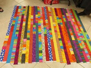 "Marsha's very bright quilt - reminded us of ""going to the circus."""