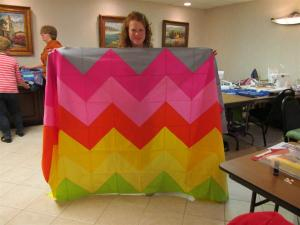 Carol added several more rows and finished this huge, bright chevron!