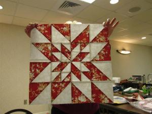 Karen was the queen of half square triangles - this is only one block of  her quilt.
