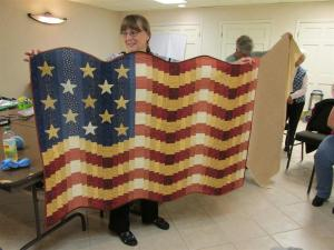 Jean's flag quilt - her own design.