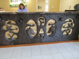 Carved front desk.