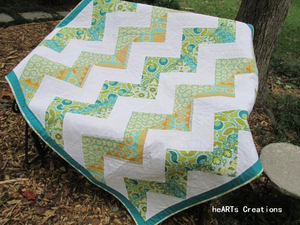 quilt on bench