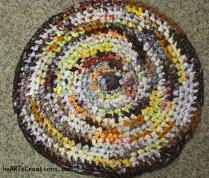 Crochet scrap rug round