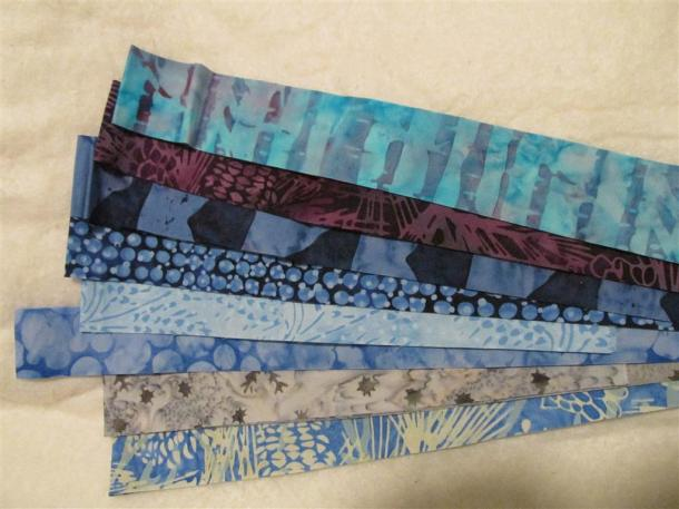 blue Batik strips